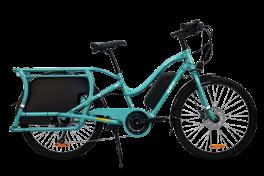Cargo Bike elettrica Boda boda Yuba azzurro telaio ribassato deep