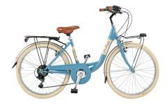 """Young Women's Giuly City bike  24"""" steel 6V Via Veneto light blue"""