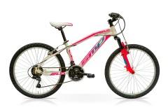Mountain Bike Mud 21V Acciaio Bianco/Fuxia